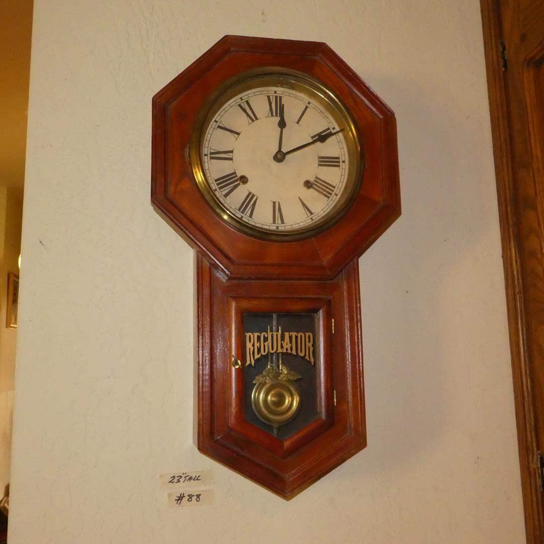 Lot # 88 - Antique Circa 1900 Regulator Pendulum Wall Clock w/Keys - Runs (main image)