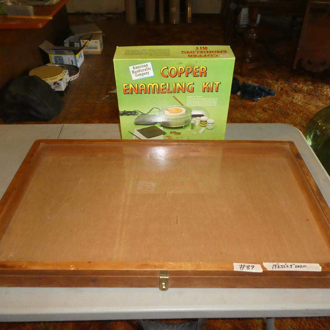 Lot # 89 - Wood w/Glass Top Display Case & Copper Enameling Kit (main image)