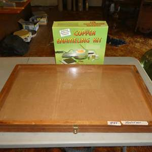 Lot # 89 - Wood w/Glass Top Display Case & Copper Enameling Kit