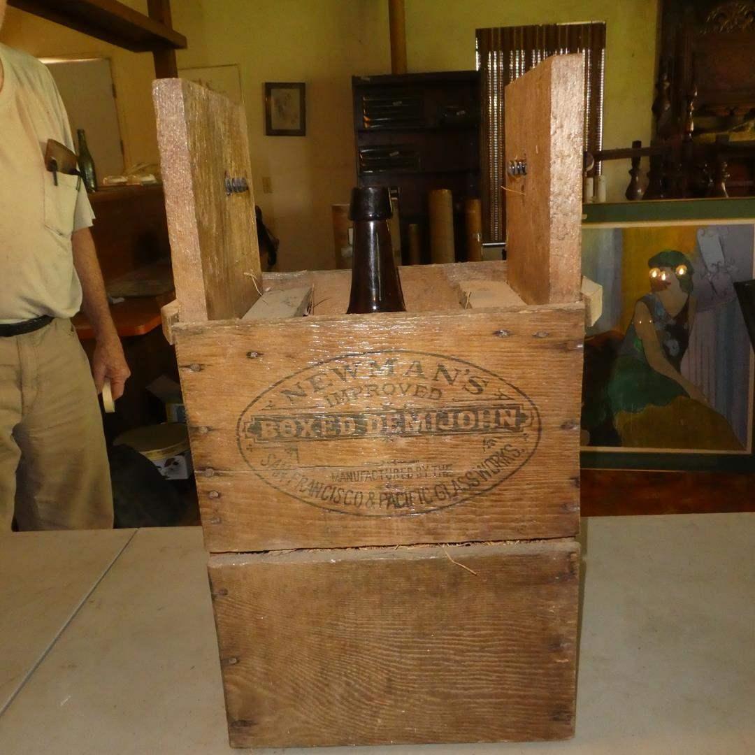 Lot # 94 - Antique Boxed Newman's Demijohn Sacramento Ca. San Francisco Ca.  (main image)
