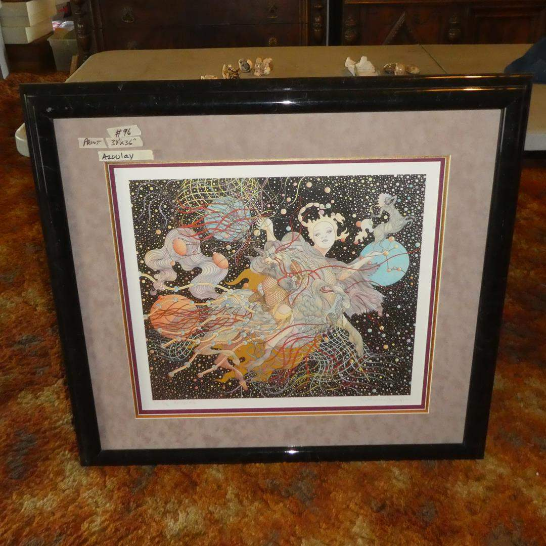 """Lot # 96 - Large Framed Signed Numbered Limited Edition Print """"Autumn"""" E.A. 15/36 by Azoulay (main image)"""