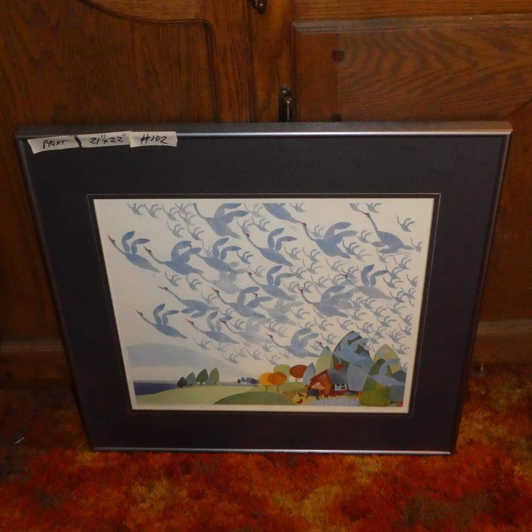 """Lot # 102 - RIE MUNOZ Signed/Numbered Limited Edition Serigraph Framed """"SANDHILL CRANES"""" 1984 (main image)"""