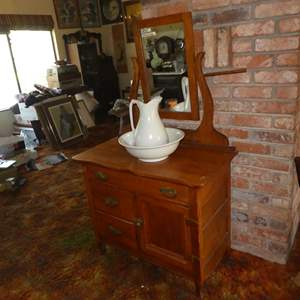 Lot # 103 - Antique Solid Wood Washstand w/Dovetailed Drawers, Pitcher & Wash Basin (England)