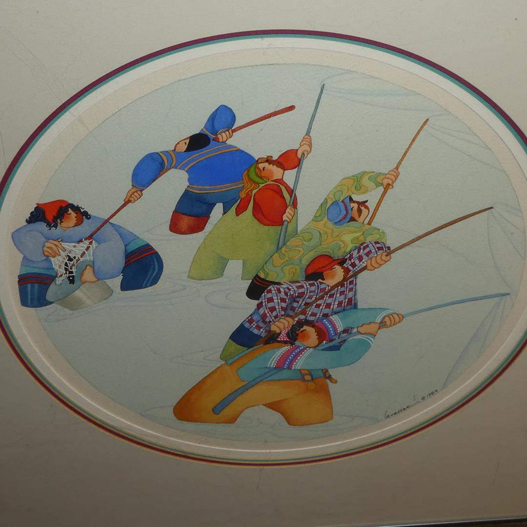 "Lot # 104 - Barbara Lavallee Framed Print ""Fishing For Hooligan"" 1984 (main image)"