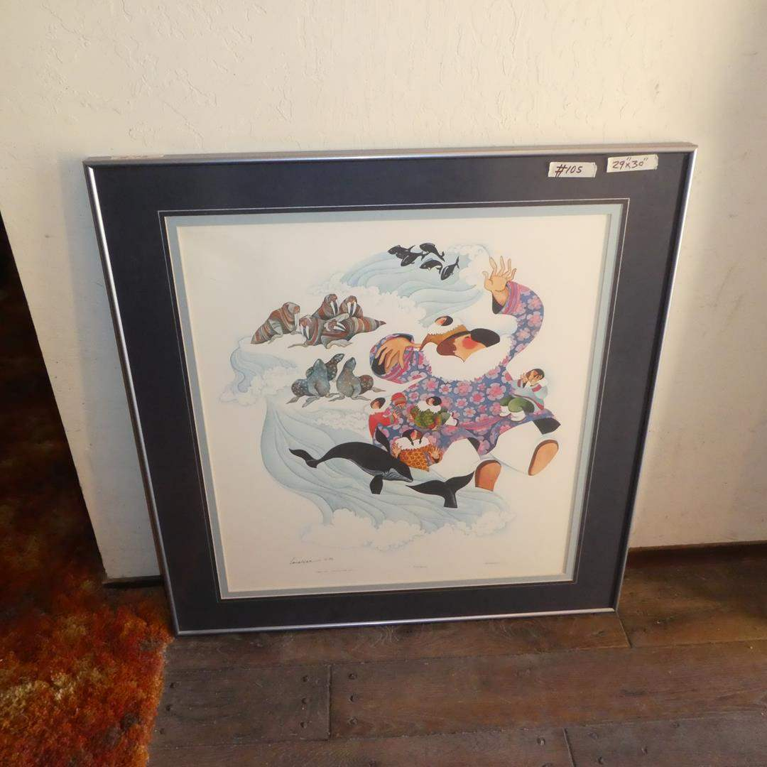 "Lot # 105 - 1982 Barbara Lavallee Framed Signed Numbered Print ""Eskimo Storyteller"" 330/500 (main image)"