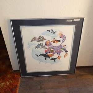 """Lot # 105 - 1982 Barbara Lavallee Framed Signed Numbered Print """"Eskimo Storyteller"""" 330/500"""