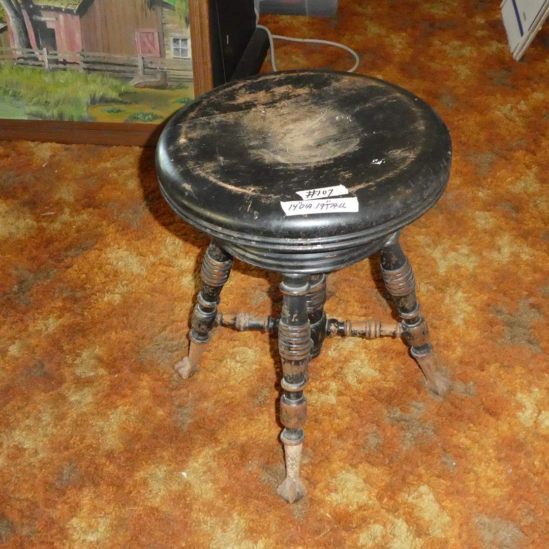 Lot # 107 - Antique Piano Stool w/Metal Claw Glass Ball Feet (main image)