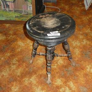 Lot # 107 - Antique Piano Stool w/Metal Claw Glass Ball Feet