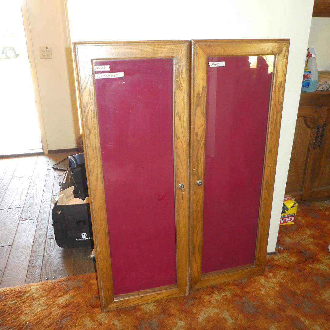 Lot # 109 - Two Wood w/Glass Tops Display Cases w/Keys (main image)