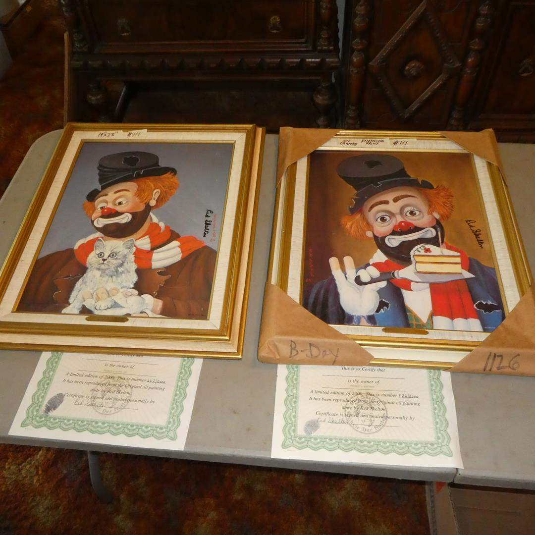 Lot # 111 - Three Framed Red Skelton Limited Edition Prints on Canvas w/Certificates of Authenticity (main image)
