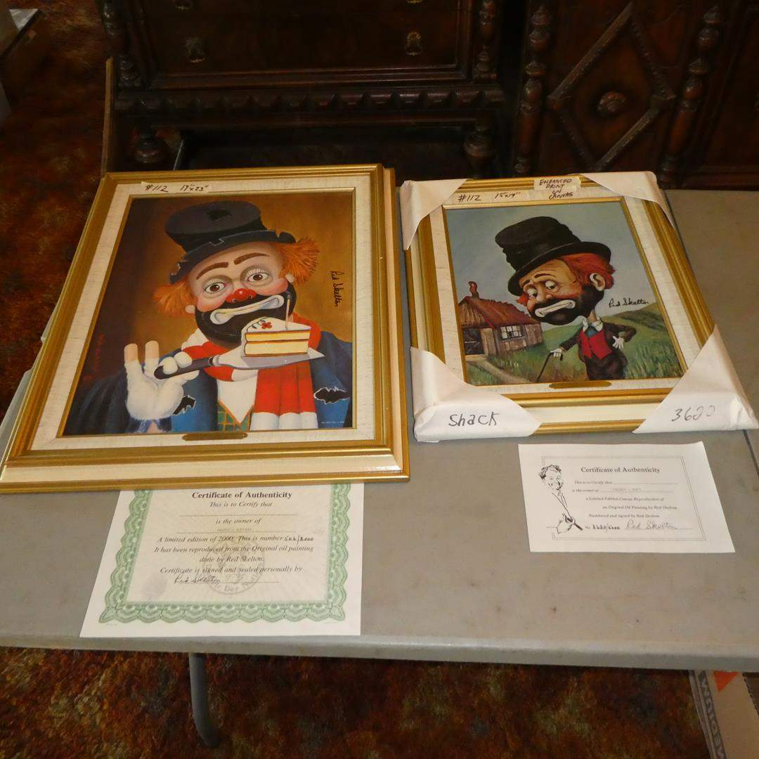 Lot # 112 - Two Framed Red Skelton Limited Edition Prints on Canvas w/Certificates of Authenticity (main image)