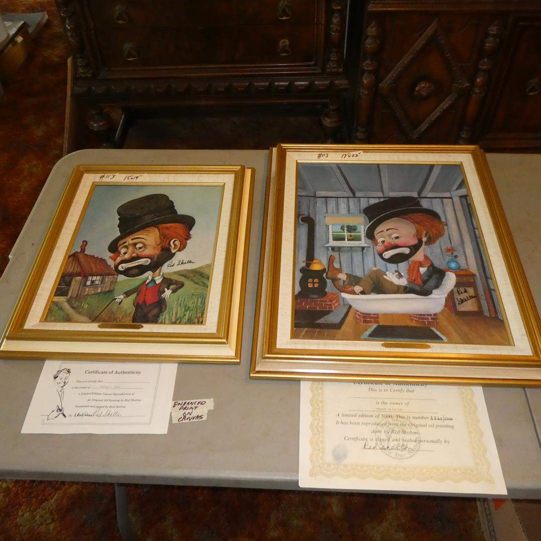 Lot # 113 - Two Framed Red Skelton Limited Edition Prints on Canvas w/Certificates of Authenticity (main image)