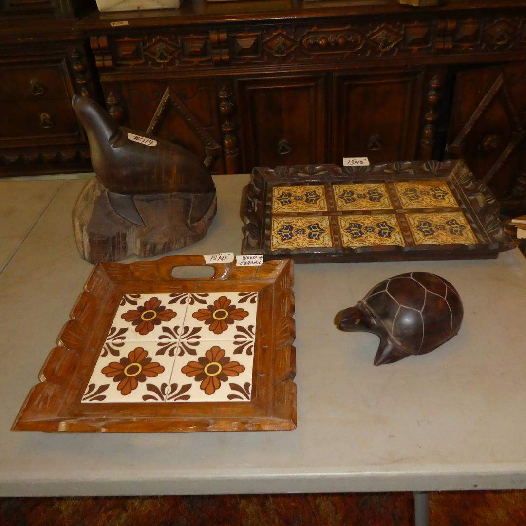 Lot # 114 - Two Tile Top Wood Framed Trays, Hand Carved Seal & Turtle (main image)