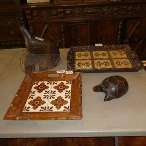 Lot # 114 - Two Tile Top Wood Framed Trays, Hand Carved Seal & Turtle