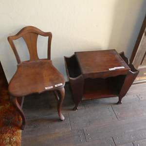 Lot # 117 - Vintage Solid Wood Youth Chair & Magazine Rack Table
