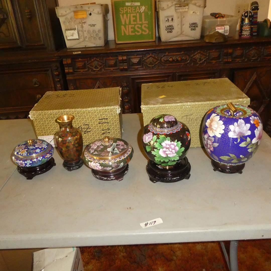 Lot # 119 - Cloisonne Lidded Jars & Vase w/Wood Stands (main image)