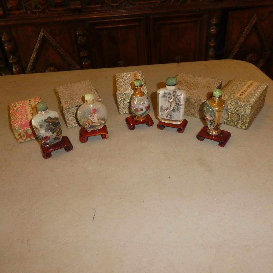 Lot # 120 - Five Vintage Chinese Inside-Bottle Hand Painted Glass Snuff Bottles w/Original Boxes (main image)