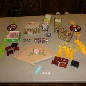 Lot # 121 - Oriental Lot: Fan, Trinket Boxes, Manufacturing Process of Cloisonne, Whistles, Duck Boxes, Glass Necklaces & More