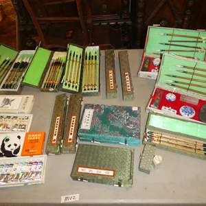 Lot # 122 - Chinese Paint Colors, Chinese Painting Brushes & Chinese Calligraphy Sets