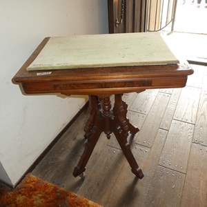 Lot # 123 - Antique Eastlake Parlor Table on Casters w/Makeshift Fabric Top
