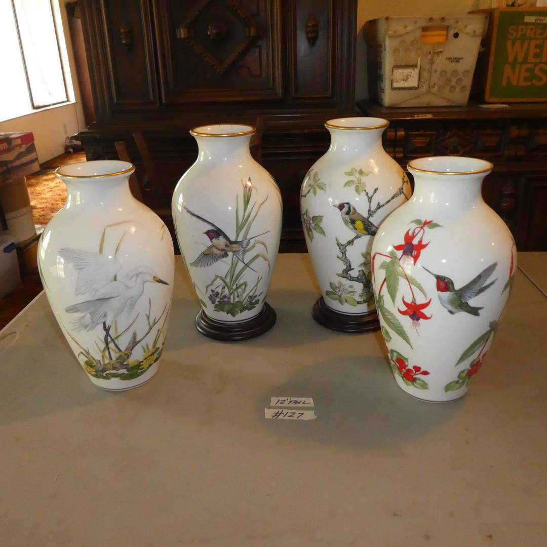 Lot # 127 - Four Franklin Porcelain Bird Vases (Japan) (main image)