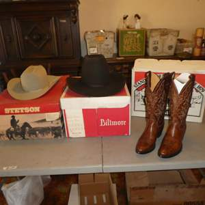 Lot # 130 - Stetson Cowboy Hat, Biltmore Western Hat & Justin Cowboy Boots - See Pics For Sizes