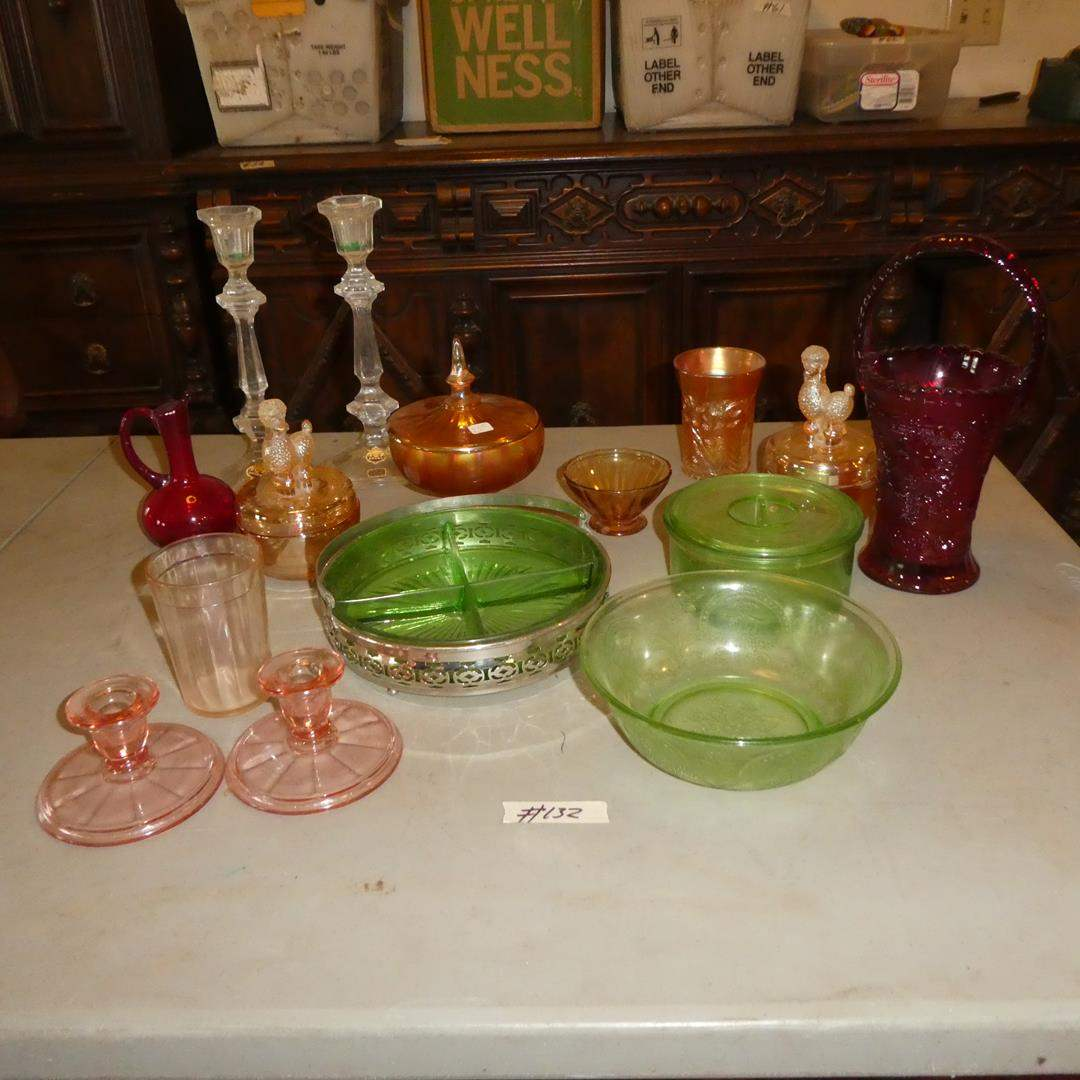 Lot # 132 - Vintage Glass Candle Stick Holders, Vases, Lunch Plates & More (main image)