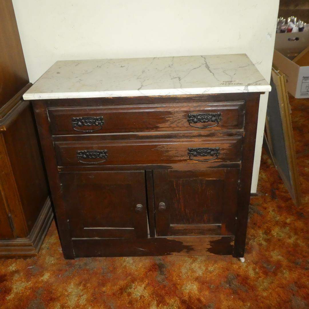 Lot # 135 - Antique Solid Wood Commode on Casters w/Marble Top & Dovetailed Drawers  (main image)