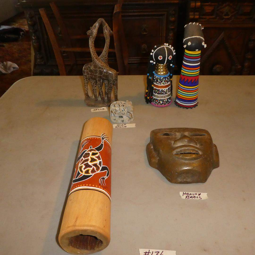 Lot # 136 - Vintage Taxco Mexico Solid Brass Mask, Stone Figurines & African Tribal Beaded Dolls (main image)
