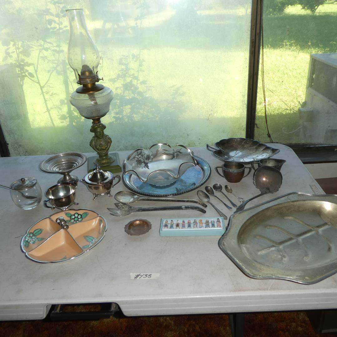 Lot # 138 - Vintage Serving Pieces, Weighted Sterling Dish, Oil Lamp, Platters, Spoons & More (main image)
