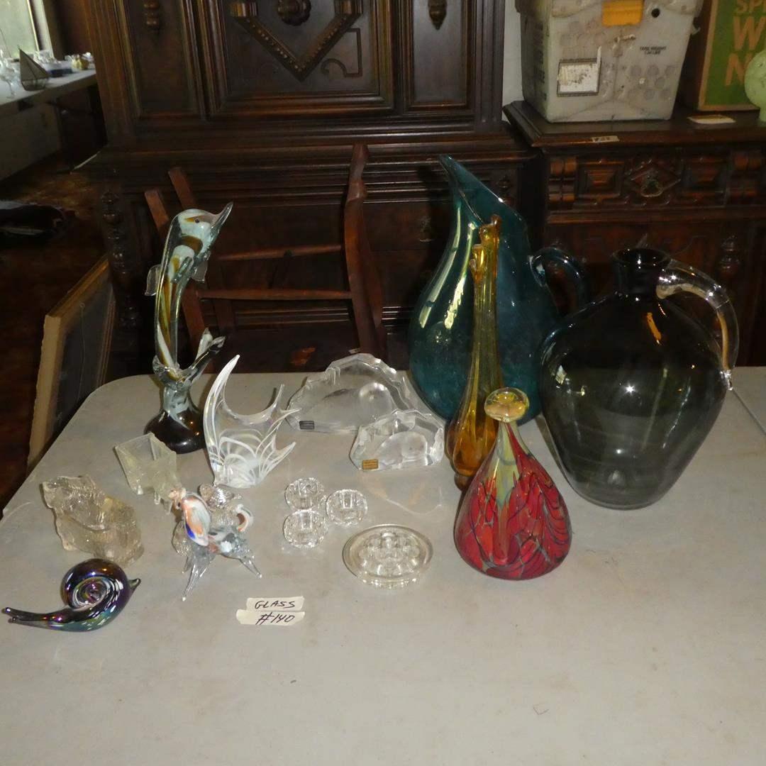 Lot # 140 - Art Glass Figurines, Scotty Dog Creamer, Signed Mats Jonasson Crystal Sculptures, Hand Blown Vases & Pitcher (main image)