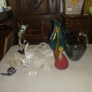 Lot # 140 - Art Glass Figurines, Scotty Dog Creamer, Signed Mats Jonasson Crystal Sculptures, Hand Blown Vases & Pitcher