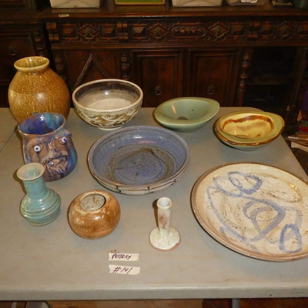 Lot # 141 - Signed Vintage Pottery Vases, Serving Plate & Bowls (main image)