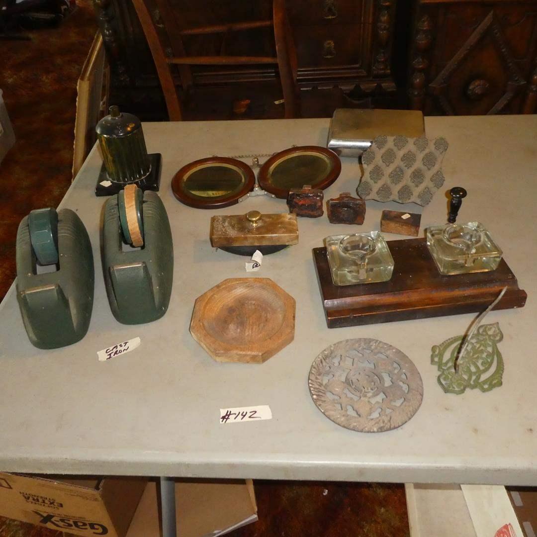 Lot # 142 - Vintage Cast Iron Tape Dispensers, Cigarette Dispenser, Folding Wall Mirror, Blotter, Stamps & Ink Wells (main image)