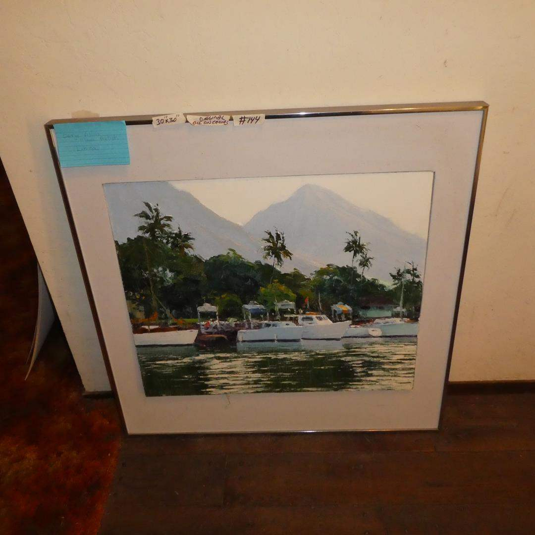 "Lot # 144 - Framed Oil on Canvas ""Lahaina Harbor Morning"" by George Allan (Maui Artist) (main image)"