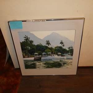 "Lot # 144 - Framed Oil on Canvas ""Lahaina Harbor Morning"" by George Allan (Maui Artist)"