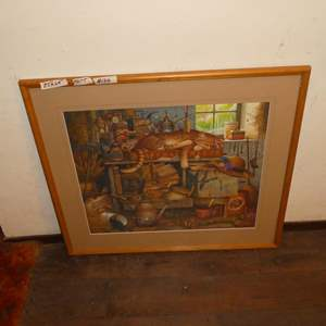 """Lot # 146 - Framed Signed Numbered Print """"Remington the Horticulturist"""" by Charles Wysocki 7740/15000"""