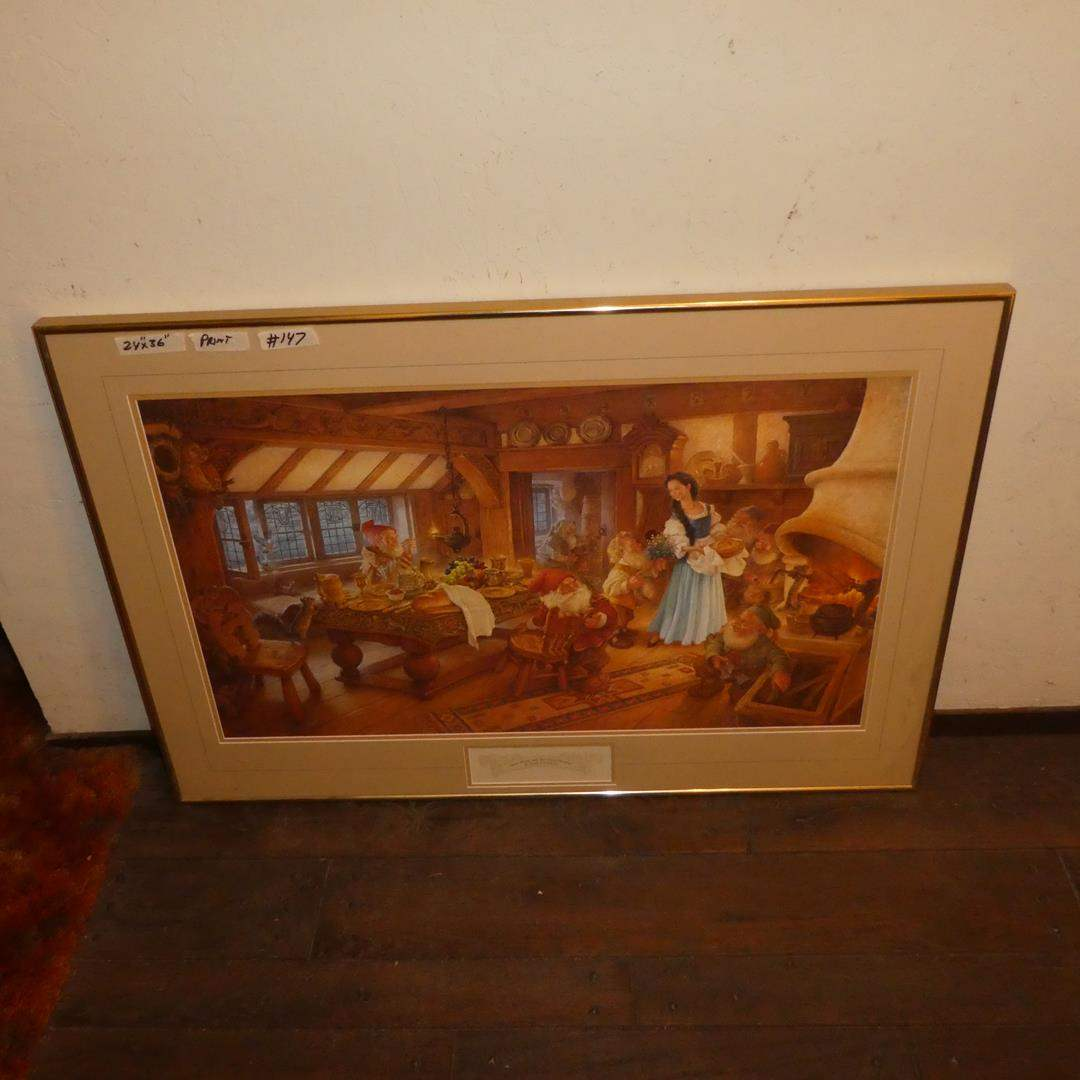 """Lot # 147 - Framed Signed Numbered Print """"Snow White and the Seven Dwarves"""" by Scott Gustafson 2234/3500 (main image)"""