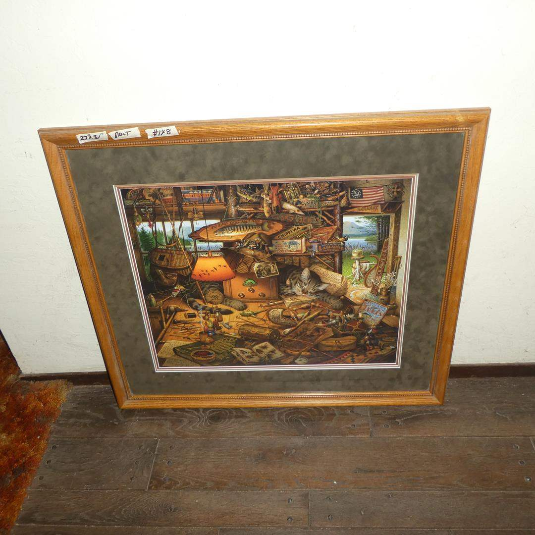 """Lot # 148 - Framed Numbered Print """"Max in the Adirondacks"""" by Charles Wysocki 316/6500 (main image)"""