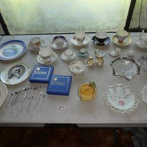 Lot # 277 - Vintage Collector Plates, Pickle Forks, Tea Cups & More