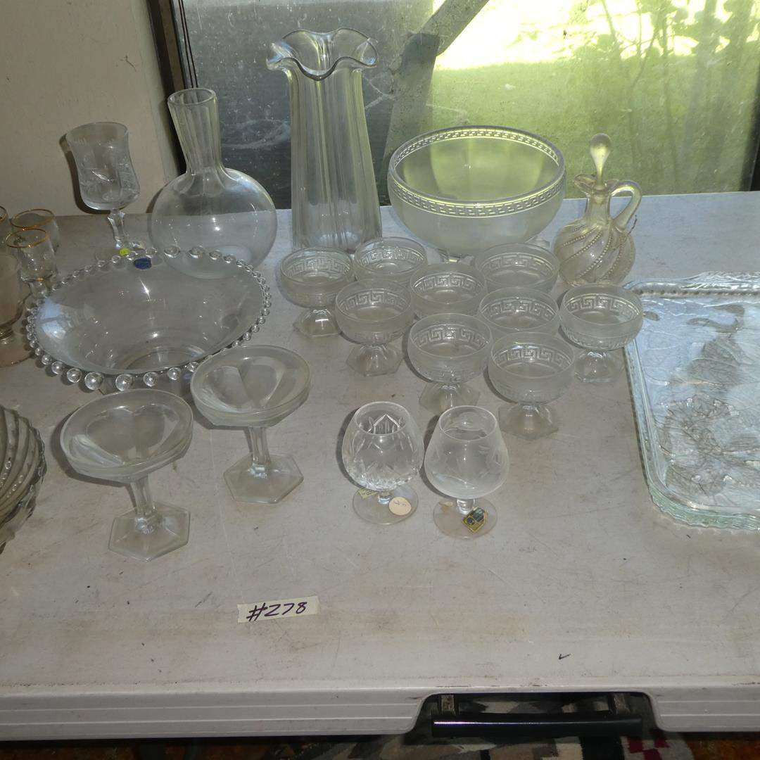 Lot # 278 - Vintage Glass Tray, Imperial Glass Bowl, Vases & Stemware (main image)