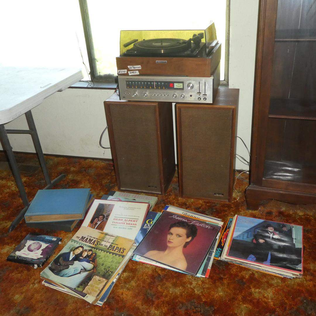 Lot # 279 - Vintage 'Realistic' Turntable, Four Channel Stereomax Receiver, Speakers & 60+ Records (main image)