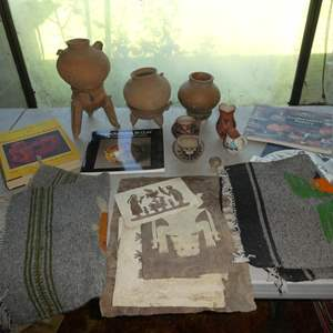Lot # 282 - Folk Art Paper Designs, Indian / Mexican & Southwest Pottery Books, Vintage Mexican Pottery & Woven Wall Hangings