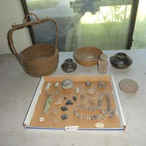 Lot # 283 -Antique Mali Clay Spindle Beads, Baskets, Crude Pottery Vases, Primitive Carved Stone Faces & Figurines
