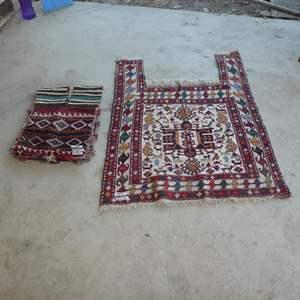 Lot # 293 - Vintage Ethnic Hand Woven Saddle Bag & Rug