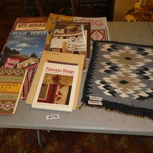 Lot # 294 - Small Vintage Navajo Rug & Assorted Native American Books