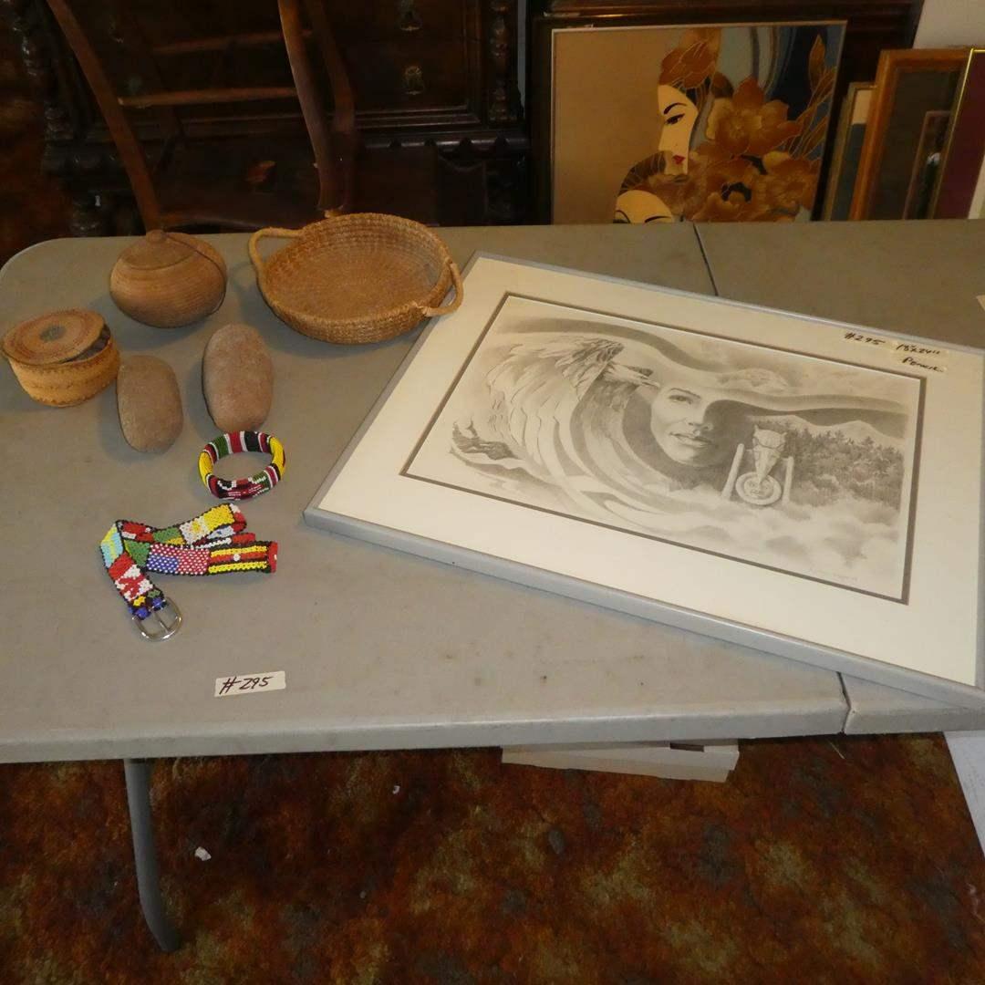 Lot # 295 - Native American Lot: Baskets, Stones & Art Work by Jo Ann George 1984 (main image)
