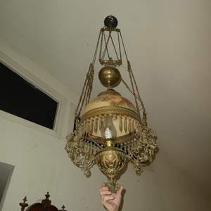 Lot # 296 - Wonderful Antique Victorian Electrified Hanging Oil Lamp w/Hand Painted Glass Shade & Ornate Brass Detail