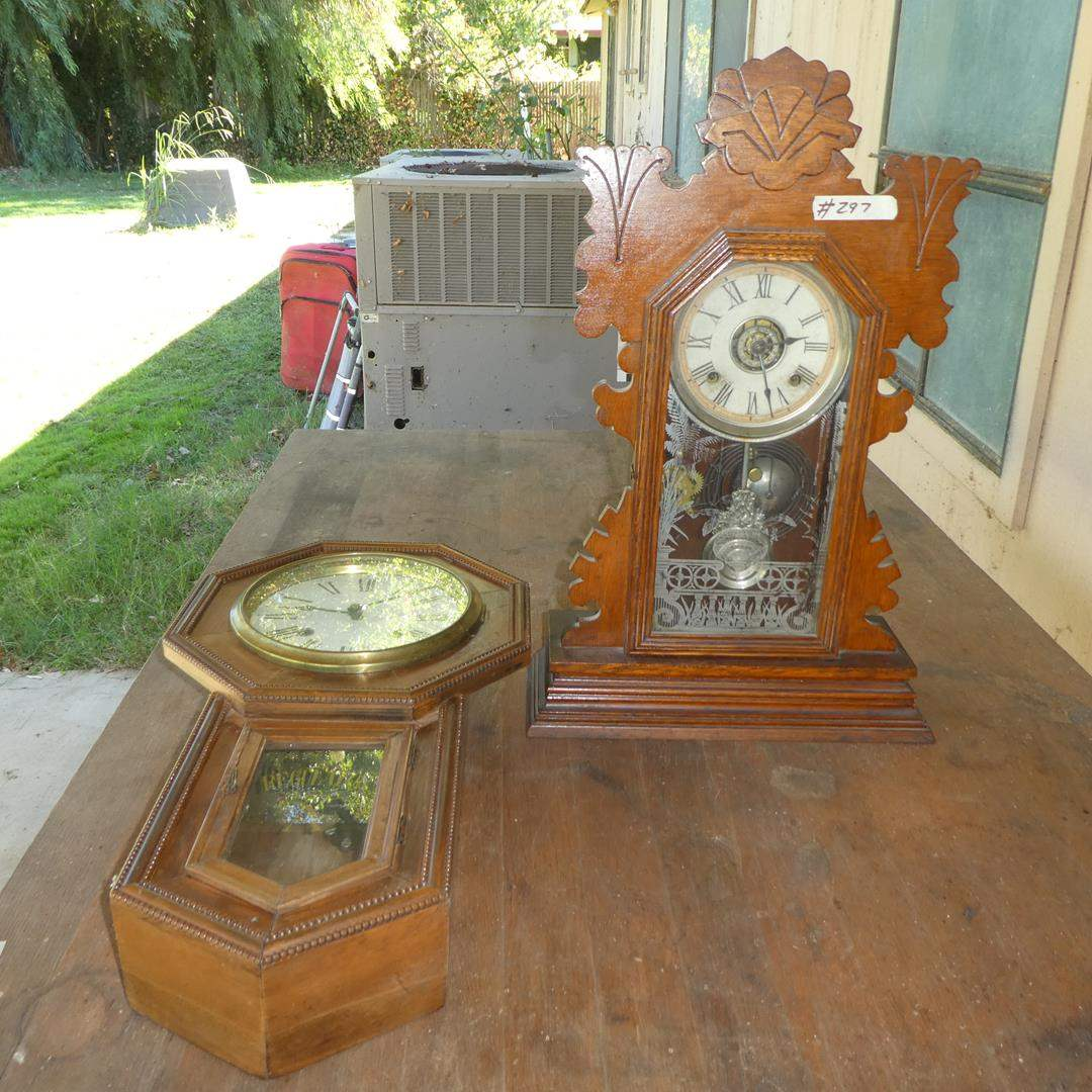 Lot # 297 - Vintage Ansonia Mantle Clock & Circa 1900 Regulator Wall Clock - Both Not Running (main image)