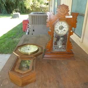 Lot # 297 - Vintage Ansonia Mantle Clock & Circa 1900 Regulator Wall Clock - Both Not Running